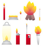 Set of fire objects / Heat Royalty Free Stock Photography