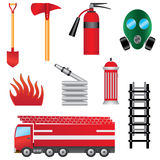Set of fire prevention objects. Set of fire prevention objects on the white background Royalty Free Stock Image