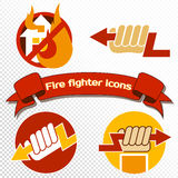 Set of fire-protect symbols with a hand holding lightning, fired house and others flame home insurance symbol. Set of fire-protect symbols with a hand holding Stock Photos