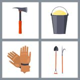 Set of  Fire-Related Items Illustration. Set of  fire-related items vector illustration dipicting hatchet with metal grip, bucket with sand, brown gloves, shovel Stock Photos