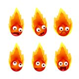 Set of fire`s face emotions. Illustration Stock Photo