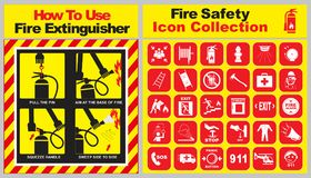 Set of fire safety icon collection and how to use fire extinguisher banner. Easy to modify Royalty Free Stock Images