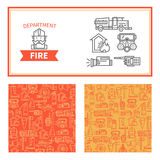 Set fire safety signs. Set of elements for design fire protection concept. Linear icons and templates for banners Royalty Free Stock Photo