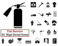 Set of 24 Fire service Icon. S in Black Color.Vector illustration Stock Image