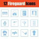 Set of fire service icons. Blue frame design. Vector illustration royalty free illustration