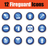 Set of fire service icons. Glossy button design. Vector illustration Royalty Free Stock Photography