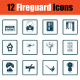 Set of fire service icons. Shadow reflection design. Vector illustration Royalty Free Stock Photo