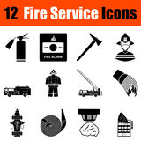 Set of fire service icons. Set of twelve fire service black icons. Vector illustration Stock Photo