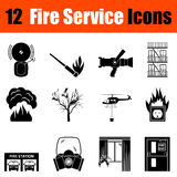 Set of fire service icons. Set of twelve fire service black icons. Vector illustration Royalty Free Stock Photo