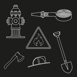Set on fire service. Objects on a white background. Set of drawings on the theme of fire service. White outlines on a black background. Only the stroke objects Royalty Free Stock Photo