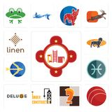 Set of fire station, cricket ball, chess knight, under construction, deluxe, pisces, sagittarius, dachshund, linen icons. Set Of 13 simple editable icons such as Royalty Free Stock Images