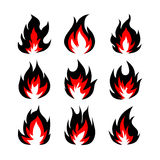 Set of fire symbols, vector illustration. Set of fire symbols in black and red on the  background, vector illustration Royalty Free Stock Photo