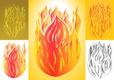 Set of fire with tongue flame Royalty Free Stock Photography