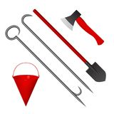 Set of fire tools red. Vector illustration. Bucket, shovel, axe and scrap Stock Photography