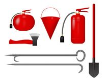 Set of fire tools red. Vector illustration. Two fire extinguishers, a shovel, a bucket, an ax and a crowbar Stock Photo