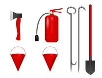 A set of fire tools. Vector illustration. Fire extinguisher, bucket, axe, shovel scrap Royalty Free Stock Photos