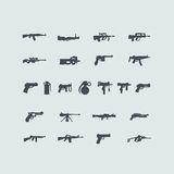 Set of fire weapon icons. Set of fire weapon simple web icons for Web and Mobile Applications Stock Photos