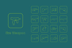Set of fire weapon simple icons Royalty Free Stock Photography