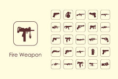 Set of fire weapon simple icons Royalty Free Stock Photos