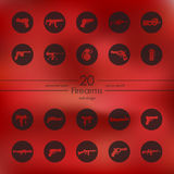 Set of firearms icons. Firearms modern icons for mobile interface on blurred background Royalty Free Stock Images