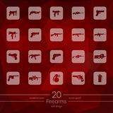 Set of firearms icons Royalty Free Stock Photo