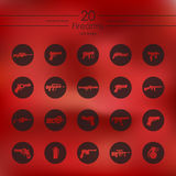 Set of firearms icons. Firearms modern icons for mobile interface on blurred background Stock Image