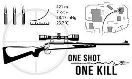Set of firearms sniper rifles, tactical map. Bullet flying Royalty Free Stock Photos