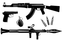 Set of firearms. Vector set of firearms  on white background Stock Photo