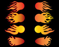 Set of fireballs. Vector illustrations body of fireballs on black background Royalty Free Stock Image