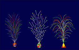 A set of firecrackers. With blue background Royalty Free Stock Image
