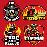 Set of firefighter badge design. Vector of set of firefighter badge design Royalty Free Stock Image