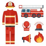 Set of firefighter clothes and alarm. Set of firefighter equipment and clothing, tools, accessories. Flat vector cartoon illustration. Objects isolated on a Royalty Free Stock Photos