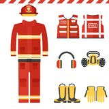 Set of firefighter clothes. Set of firefighter equipment and clothing, tools, accessories. Flat vector cartoon illustration. Objects isolated on a white Stock Photos
