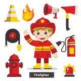 Set of Firefighter with Fire safety equipments. Set of characters of Profession Firefighter with Fire safety equipments. Firefighter Royalty Free Stock Images