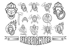 Set of Firefighter logo. Fire Department. Human with firefighter helmet Stock Image