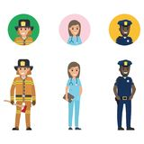 Set of Firefighter, Medical Adviser and Policeman. Firefighter in protective suit with long ax, medical adviser with tablet, police officer with walkie-talkie Stock Photos