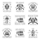 Set of firefighter in monochrome style logos, emblems, labels and badges. Set of vector templates isolated on white background Stock Images
