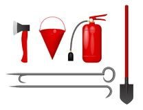 Set for firefighter. Vector illustration. Fire extinguisher, bucket, axe shovel scrap Royalty Free Stock Photo