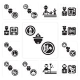 Set of Firefighter, Spaceman, housekeeper, Concierge, Builder, Chef, Maid, Sailor, Programmer icons. Set Of 13 simple editable icons such as Firefighter Stock Images