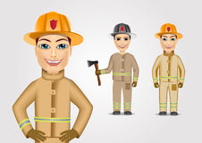 Set of firefighters in brown uniform. Holding ax  on white background Royalty Free Stock Photo