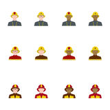 Set of firefighters in flat style, different races.  Royalty Free Stock Images