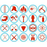 Set of firefighters icons. Outlined icons fire tools, supplies and equipment to extinguish the fire. Illustration on white background Royalty Free Stock Photo