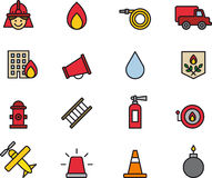 Set of Firefighting Icons or Symbols Royalty Free Stock Images