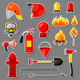 Set of firefighting stickers. Fire protection equipment Royalty Free Stock Images