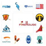 Set of firehouse, tall ship, double m, corn dog, paragliding, cardinal bird, third eye, pack wolf, power play hockey icons. Set Of 13 simple editable icons such Stock Photo