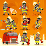 Set of fireman at work. Set of cartoon fireman doing their job and saving people. EPS 10 Stock Images