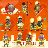 Set of fireman at work Royalty Free Stock Image
