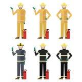 Set of Firemen Stock Image