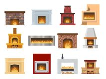 Set fireplace made of colored bricks, natural stone, gypsum, flame. Set of classic fireplace made of colored bricks, natural stone, gypsum, with a natural stone Royalty Free Stock Photos