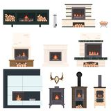 Set of fireplaces and accessories to them. Stone and brick classical and modern fireplaces. Fire and firewood. Reindeer antlers on the wall Royalty Free Stock Photo